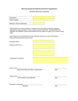 Moving Expense Reimbursement Agreement Western Kentucky University