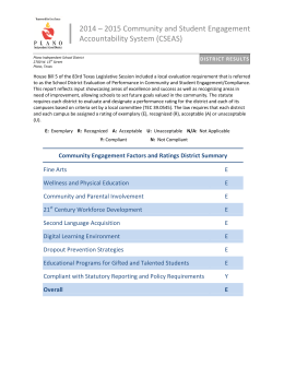 2014 – 2015 Community and Student Engagement Accountability System (CSEAS)