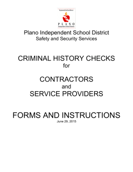 FORMS AND INSTRUCTIONS CRIMINAL HISTORY CHECKS CONTRACTORS SERVICE PROVIDERS