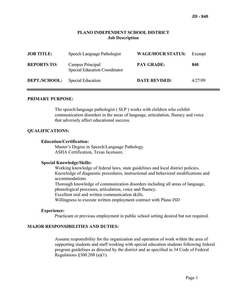Jd 840 Plano Independent School District Job Description