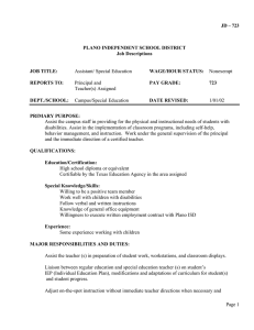 JD – 723  PLANO INDEPENDENT SCHOOL DISTRICT Job Descriptions