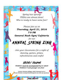 ANNUAL SPRING ZING  Thursday, April 21, 2016 7-9 PM