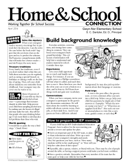 Home&School Build background knowledge CONNECTION