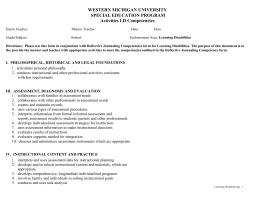 WESTERN MICHIGAN UNIVERSITY SPECIAL EDUCATION PROGRAM Activities LD Competencies