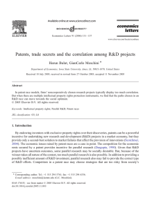 Patents, trade secrets and the correlation among R&D projects