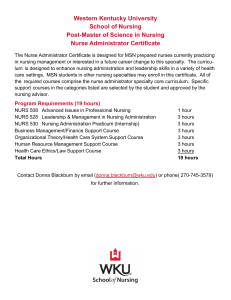 Western Kentucky University School of Nursing Post-Master of Science in Nursing