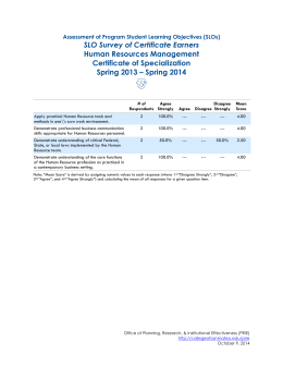 SLO Survey of Certificate Earners Human Resources Management Certificate of Specialization