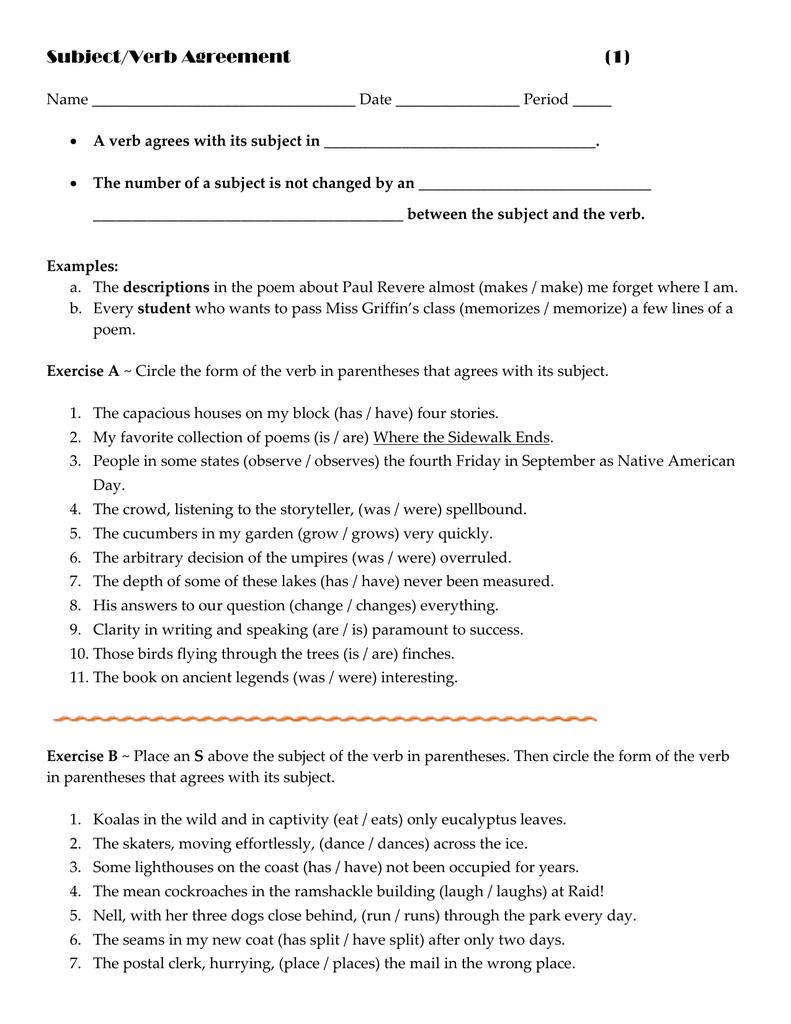 Subjectverb Agreement 1