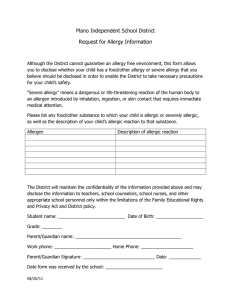 Plano Independent School District Request for Allergy Information