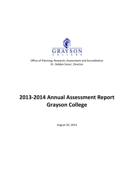 2013-2014 Annual Assessment Report Grayson College