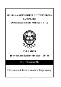 Electronics & Instrumentation Engineering SYLLABUS (For the Academic year 2015 – 2016)