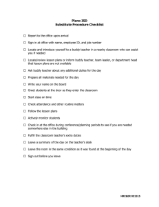 Plano ISD Substitute Procedure Checklist