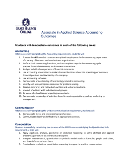 Associate in Applied Science Accounting-  Outcomes