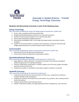 – Transfer  Associate in Applied Science Energy Technology Outcomes