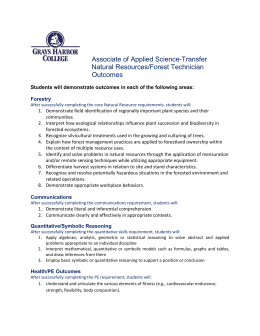 Associate of Applied Science-Transfer Natural Resources/Forest Technician Outcomes