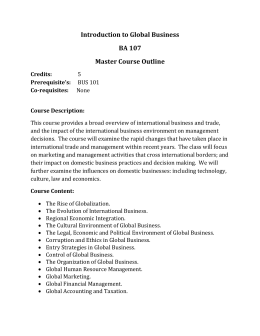 Introduction to Global Business BA 107 Master Course Outline