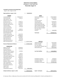 GENERAL FUND REPORT North Penn School District Financials-August 13