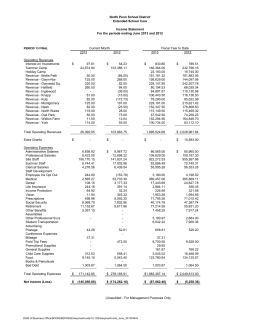 North Penn School District Extended School Care Income Statement