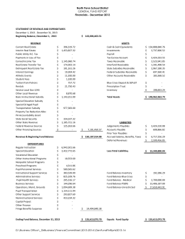 North Penn School District Financials - December 2013 STATEMENT OF REVENUE AND EXPENDITURES Beginning Balance, December 1,  2013