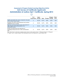 SLO Survey of Certificate Applicants