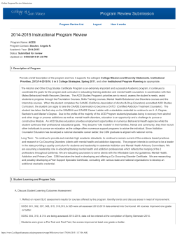 Program Review Submission 2014-2015 Instructional Program Review