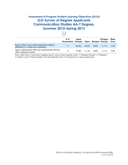 SLO Survey of Degree Applicants Communication Studies AA-T Degree, Summer 2012–Spring 2013