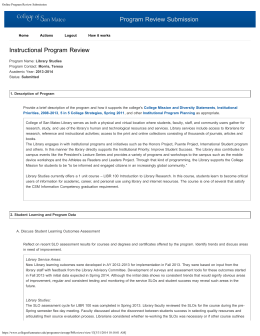 Program Review Submission Instructional Program Review