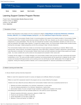 Program Review Submission Learning Support Centers Program Review