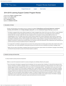 Program Review Submission 2014-2015 Learning Support Centers Program Review