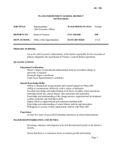 JD - 950  PLANO INDEPENDENT SCHOOL DISTRICT Job Description