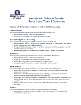 Associate in Science-Transfer  Track 1 and Track 2 Outcomes