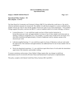 GRAYS HARBOR COLLEGE Operational Policy Subject: CREDIT HOUR POLICY Page 1 of 1