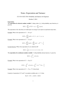 Notes: Expectation and Variance October 2, 2014