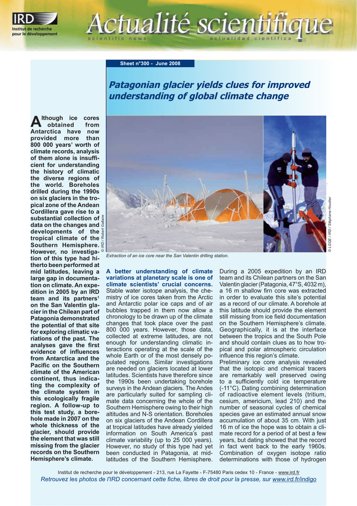 A W Patagonian glacier yields clues for improved