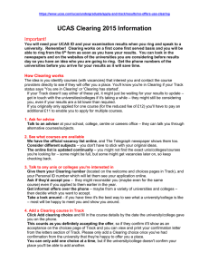 UCAS Clearing 2015 Information Important!