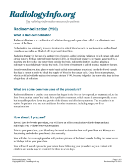 Radioembolization (Y90) What is Radioembolization