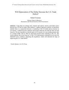 Will Depreciation of The Dollar Decrease the U.S. Trade Deficit?  Robert Freeman