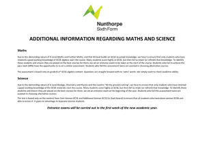 ADDITIONAL INFORMATION REGARDING MATHS AND SCIENCE Maths