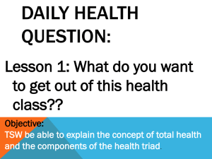 DAILY HEALTH QUESTION: Lesson 1: What do you want