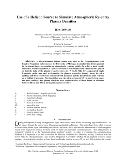 Use of a Helicon Source to Simulate Atmospheric Re-entry Plasma Densities IEPC-2009-236