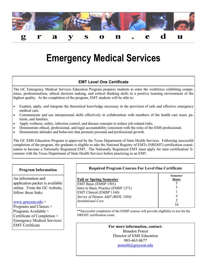 Emergency Medical Services EMT Level One Certificate