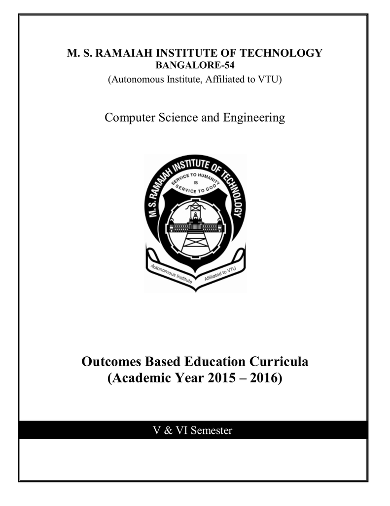 Outcomes Based Education Curricula (Academic Year 2015 – 2016)