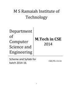 M S Ramaiah Institute of Technology Department of