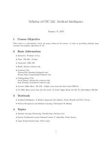Syllabus of CSC 242: Artificial Intelligence 1 Course Objective January 15, 2015