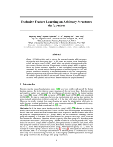 Exclusive Feature Learning on Arbitrary Structures via ` -norm 1,2