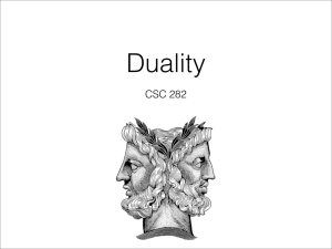 Duality CSC 282