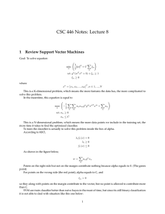 CSC 446 Notes: Lecture 8 1 Review Support Vector Machines