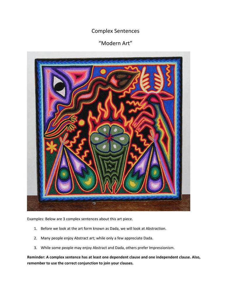 """art form examples sentence Complex Sentences """"Modern Art"""""""
