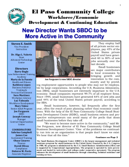 El Paso Community College New Director Wants SBDC to be Workforce/Economic