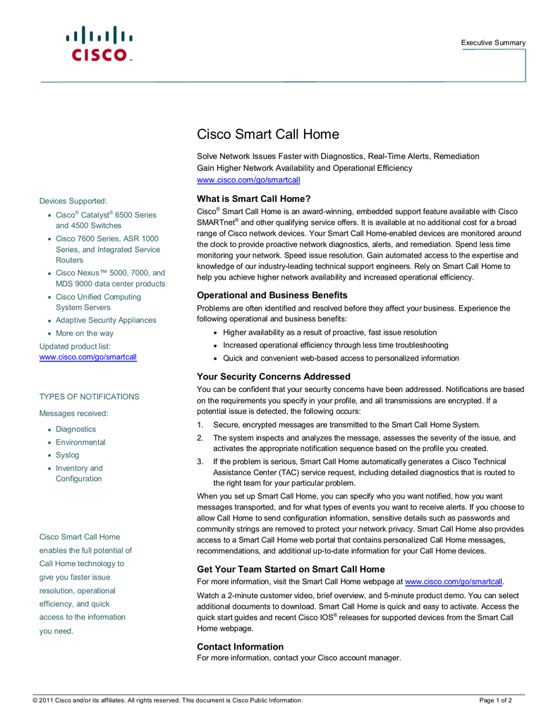 Cisco Smart Call Home